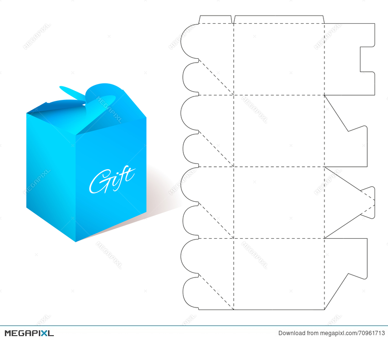 Gift paper box with blueprint template illustration 70961713 megapixl gift paper box with blueprint template malvernweather Images