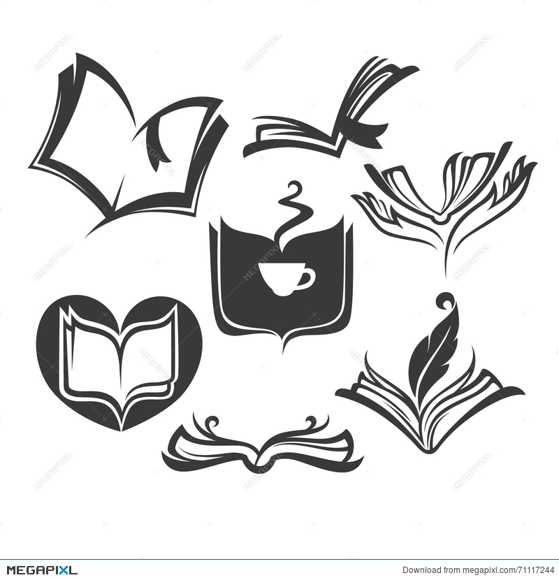 Vector Collection Of Old Books Reading And Writing Symbols