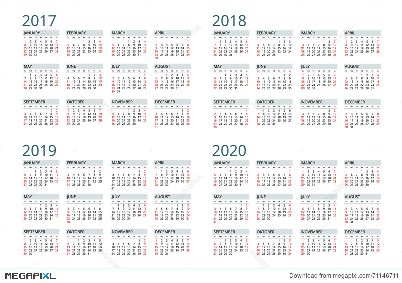 Calendario 2020 Vector Gratis.Calendar For 2017 2018 2019 2020 Week Starts Sunday