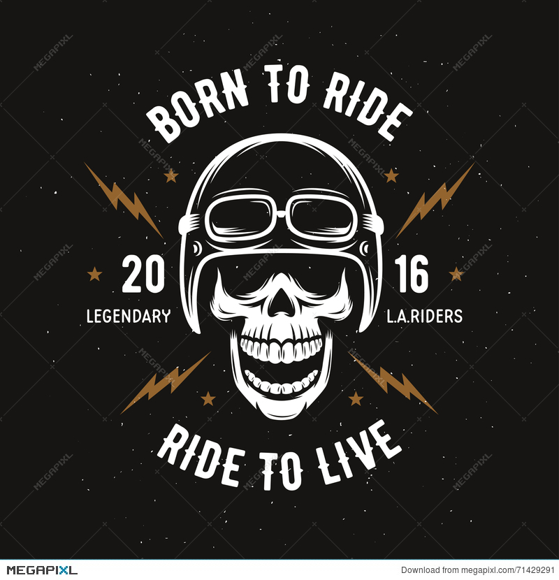 21b546d8 Illustration: Vintage Motorcycle T-Shirt Graphics. Born To Ride. Ride To  Live. Vector Illustration.