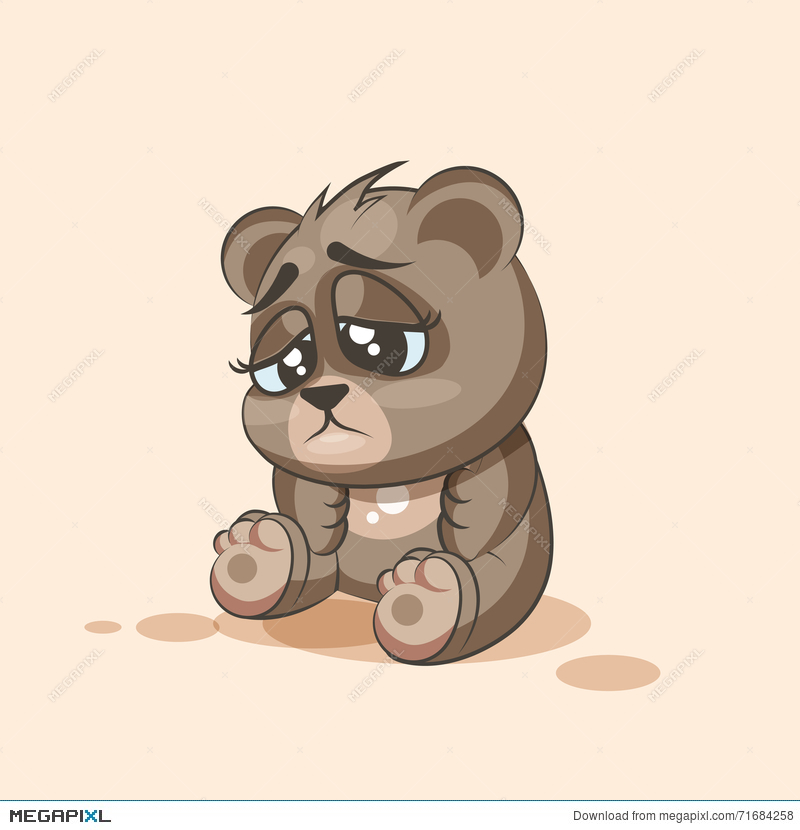 Emoji Character Cartoon Bear Sad And Frustrated Sticker