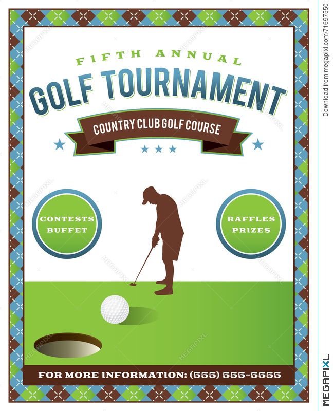 Golf Tournament Flyer Template Illustration   Megapixl