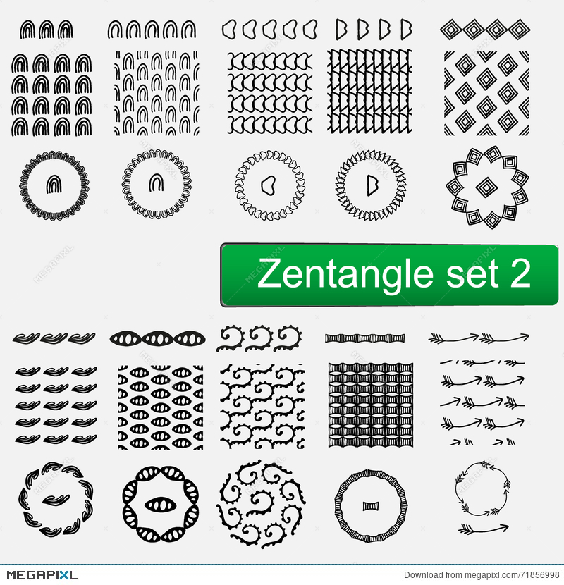 Zentangle Vector Seamless Patterns And Brushes Set 1 Hand Drawn