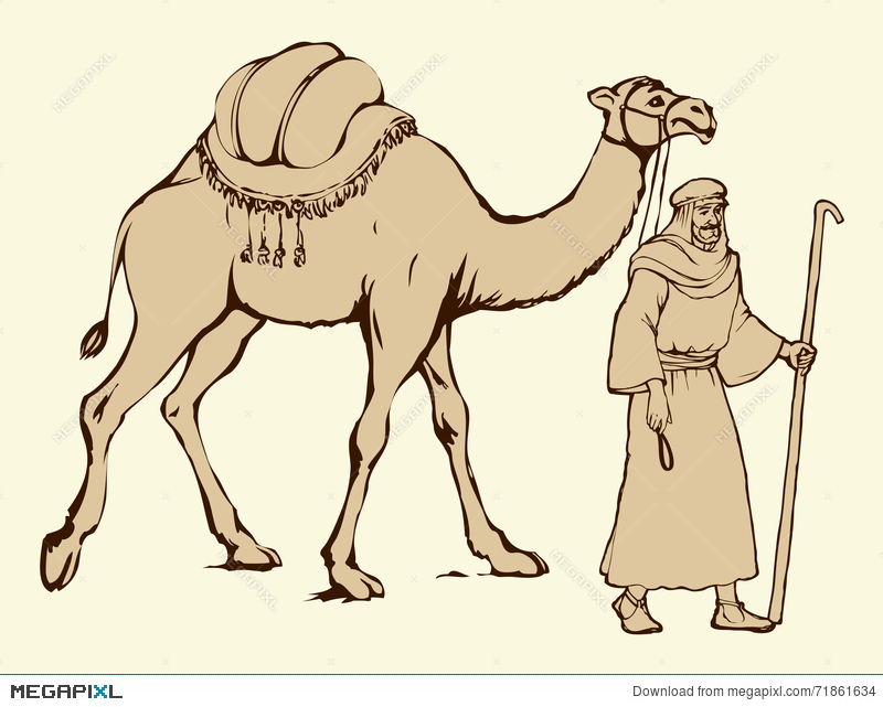 Arab With Camel Laden  Vector Drawing Illustration 71861634 - Megapixl