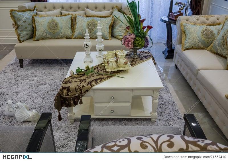 Modern Luxury Interior Home Design Teapoy Sofa Parlor Living Room Villa Stock Photo 71887410 Megapixl