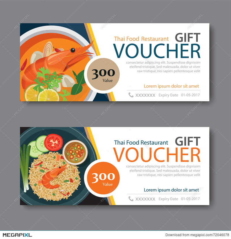 Discount Voucher Template With Thai Food Flat Design  Free Discount Vouchers