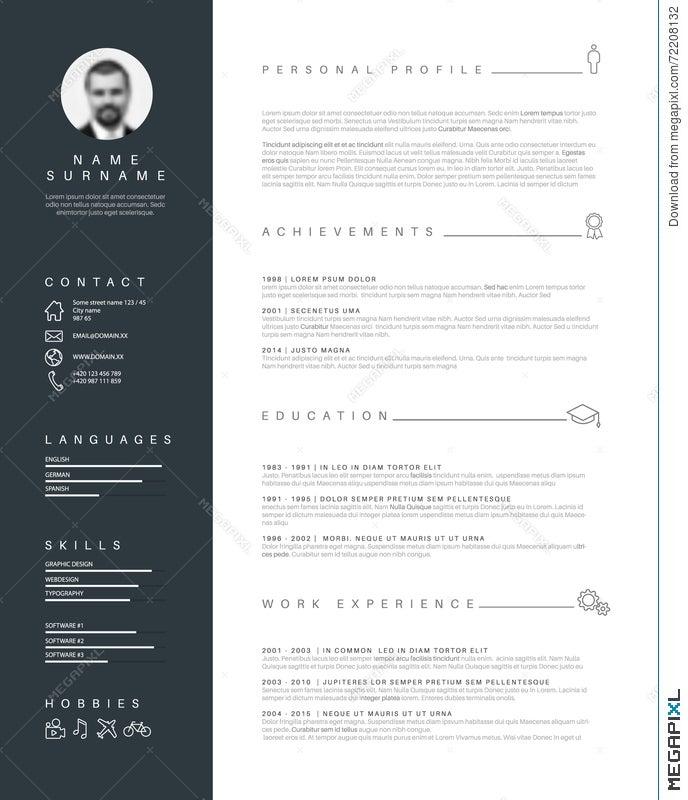 Minimalist Resume Cv Template With Nice Typography Illustration