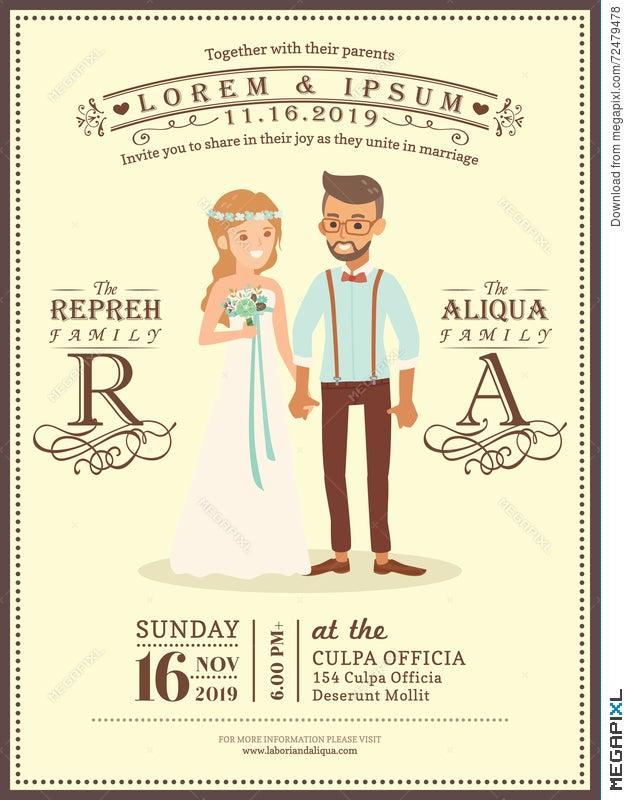 Wedding Couple Groom And Bride Cartoon Wedding Invitation Card ...