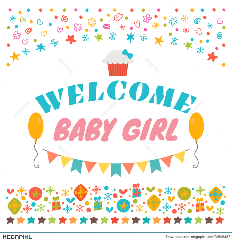 Welcome Baby Girl Announcement Card Baby Shower Greeting Card