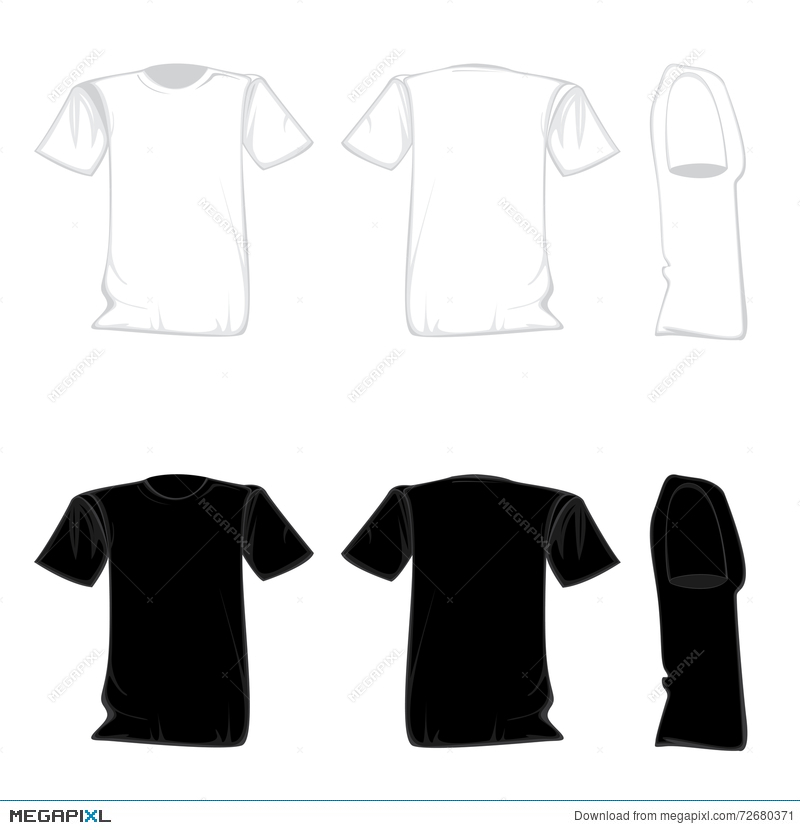 t shirt template design set shirt for front with back and side view