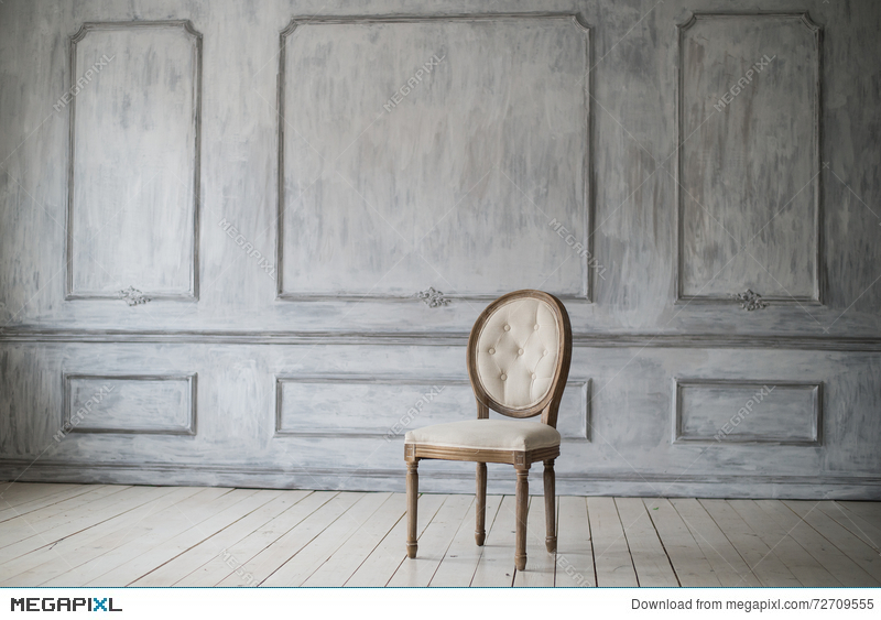 Antique White Chair Over Luxury Light Wall Design Bas Relief Stucco Mouldings Roccoco Elements Stock Photo 72709555 Megapixl