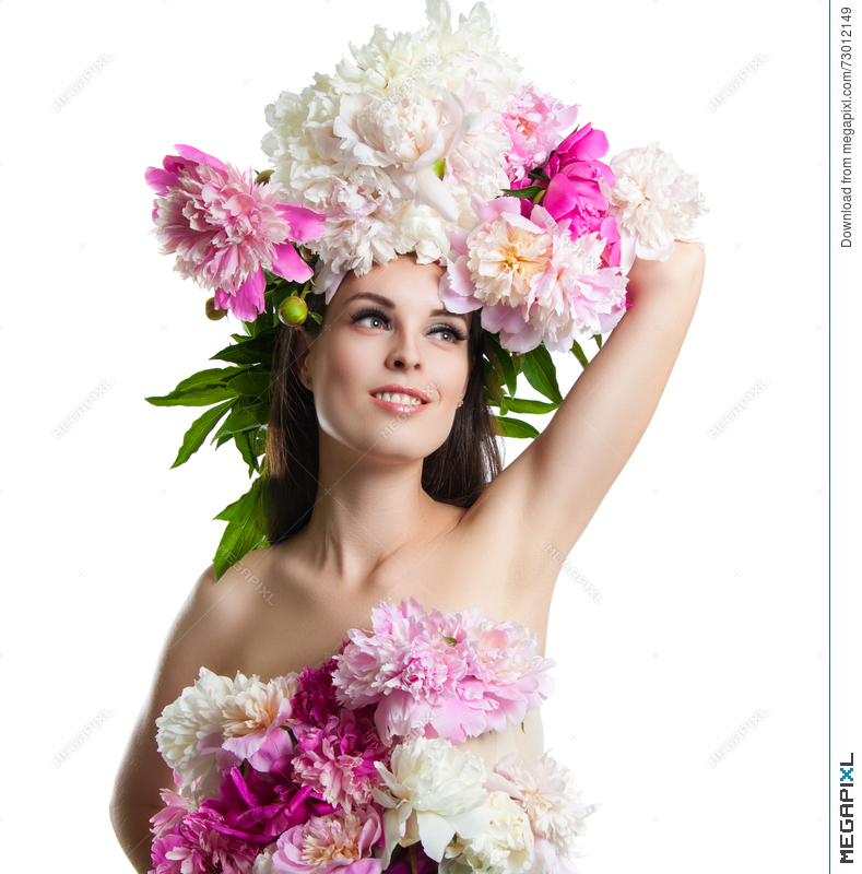 Beautiful Girl With Flowers Peonies Portrait Of A Young