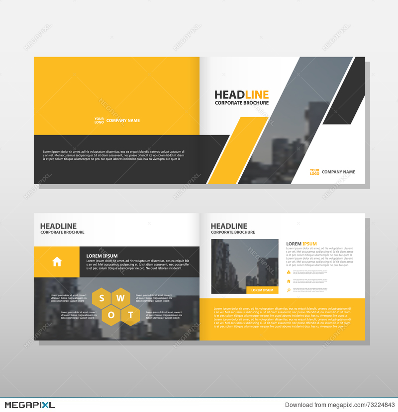 Yellow Black Annual Report Leaflet Brochure Flyer Template Design