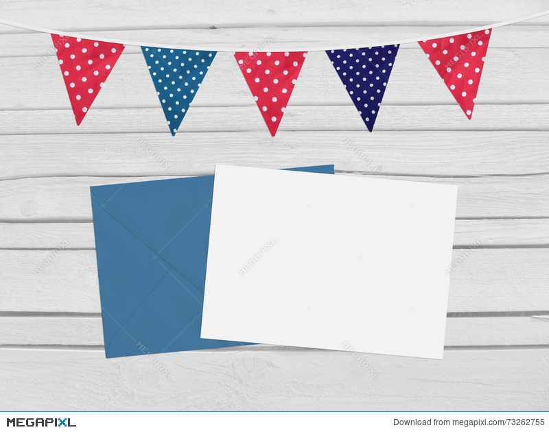 Birthday Baby Shower Mockup Scene With Envelope Blank Card Party