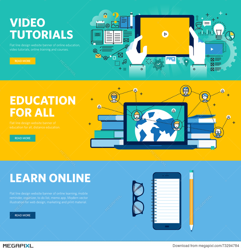 Set Of Flat Line Design Web Banners For Distance Education Online Learning Video Tutorials Illustration 73294784 Megapixl