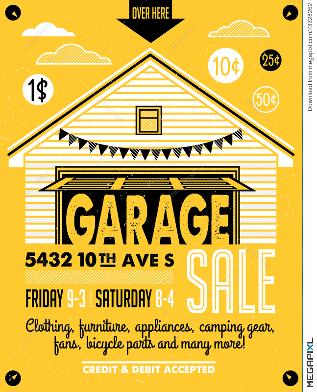 Garage Sale Poster Illustration 73328262 - Megapixl