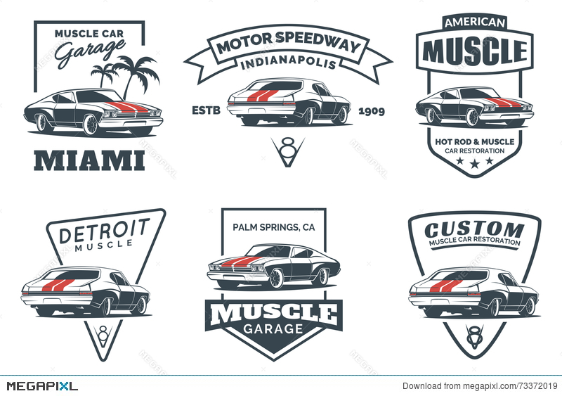 Set Of Classic Muscle Car Logo Emblems Badges And Icons