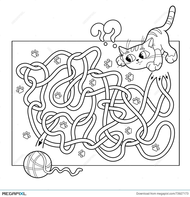 road coloring page. Education Maze or Labyrinth Game for Preschool Children  Puzzle Tangled Road Coloring Page Or For