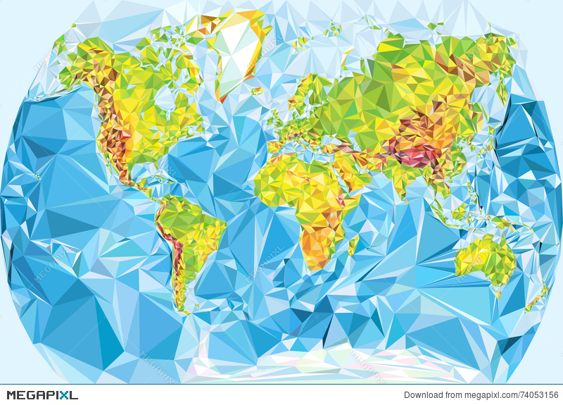 Physical world map in polygonal style illustration 74053156 megapixl physical world map in polygonal style gumiabroncs Images