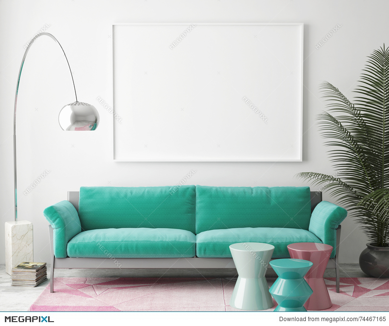 Mock Up Blank Poster On The Wall Of Vintage Living Room Cool Living Room Images Free