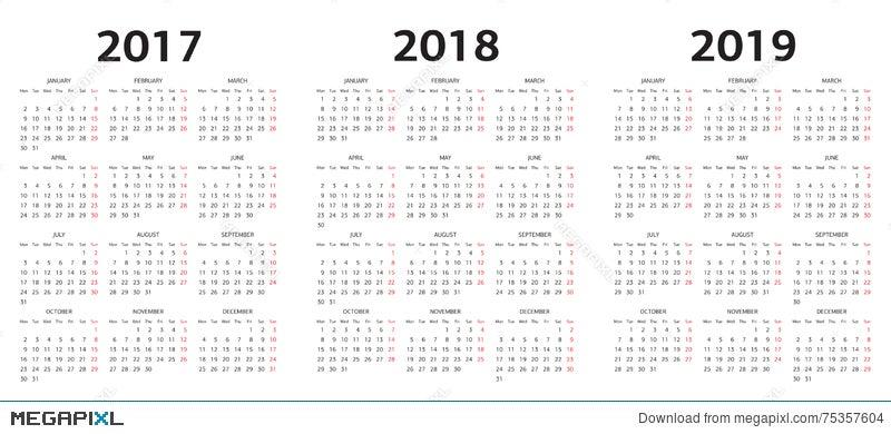 European Vector Calendar Templates 2017 2018 2019 Illustration