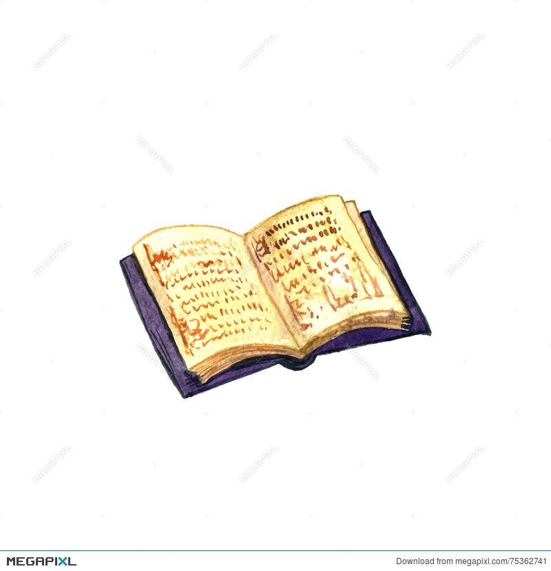Watercolor Open Old Book Illustration 75362741 - Megapixl