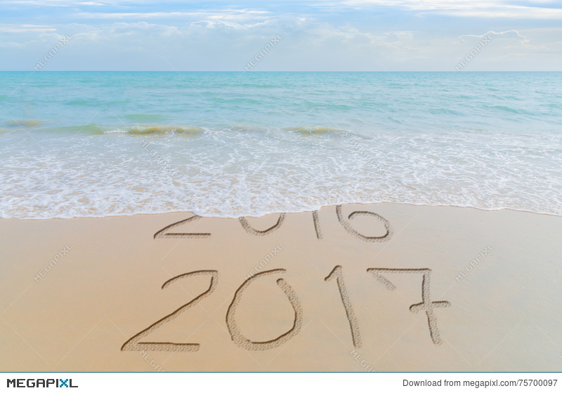 Captivating Happy New Year 2017 Replace 2016 Concept On The Summer Sea Beach. New Year  2017