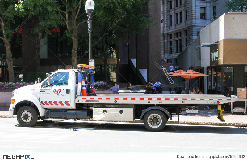 Aaa Flatbed Tow Truck Stock Photo 75798632 Megapixl