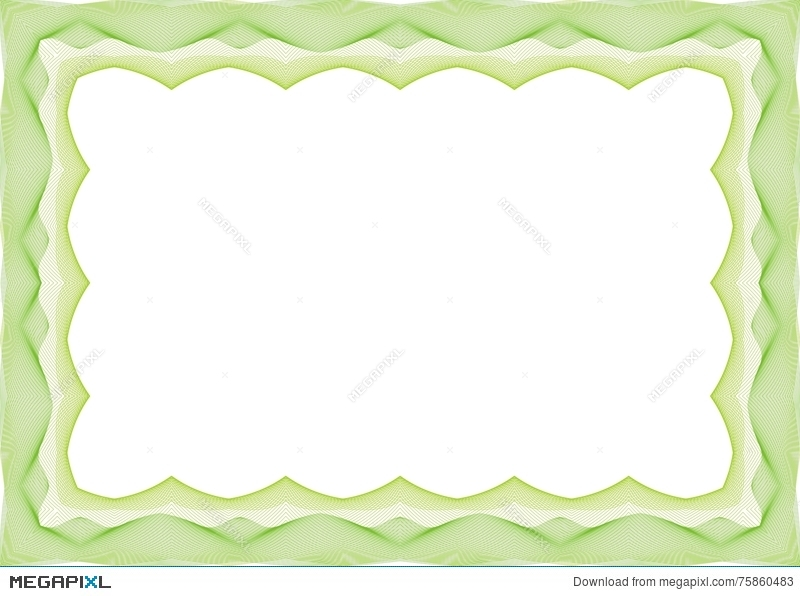 green certificate or diploma template frame border illustration