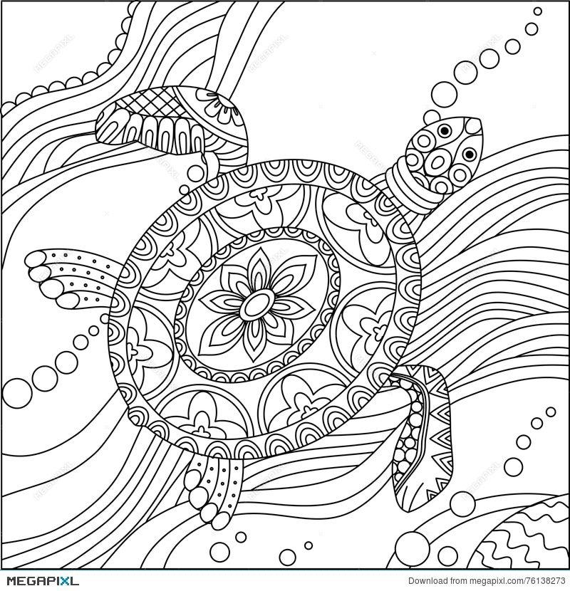 - Sea Turtle Coloring Page Illustration 76138273 - Megapixl