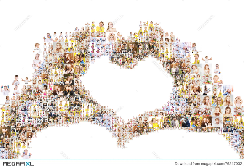 hands forming heart collage of people
