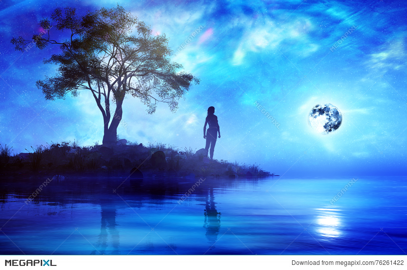 Woman Standing Alone In Fantasy Island Illustration 76261422