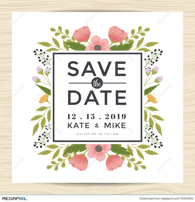save the date wedding invitation card template with hand drawn