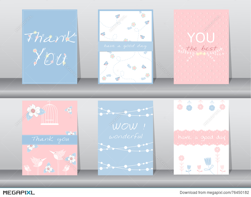 set of invitation cards thank you cards poster template greeting