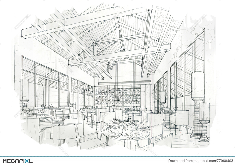 Sketch Perspective Interior Restaurant , Black And White ...