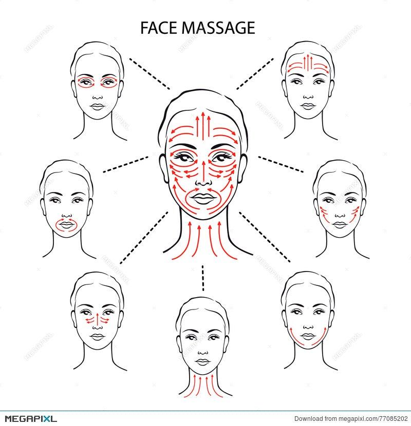 Set Of Face Massage Instructions Illustration 77085202 Megapixl