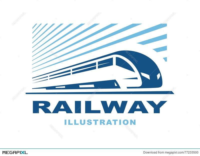 Train Logo Illustration On Light Background Emblem Illustration
