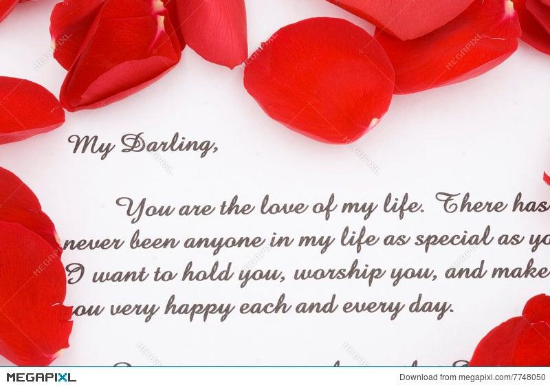 Rose Petals And A Love Letter Stock Photo 7748050  Megapixl
