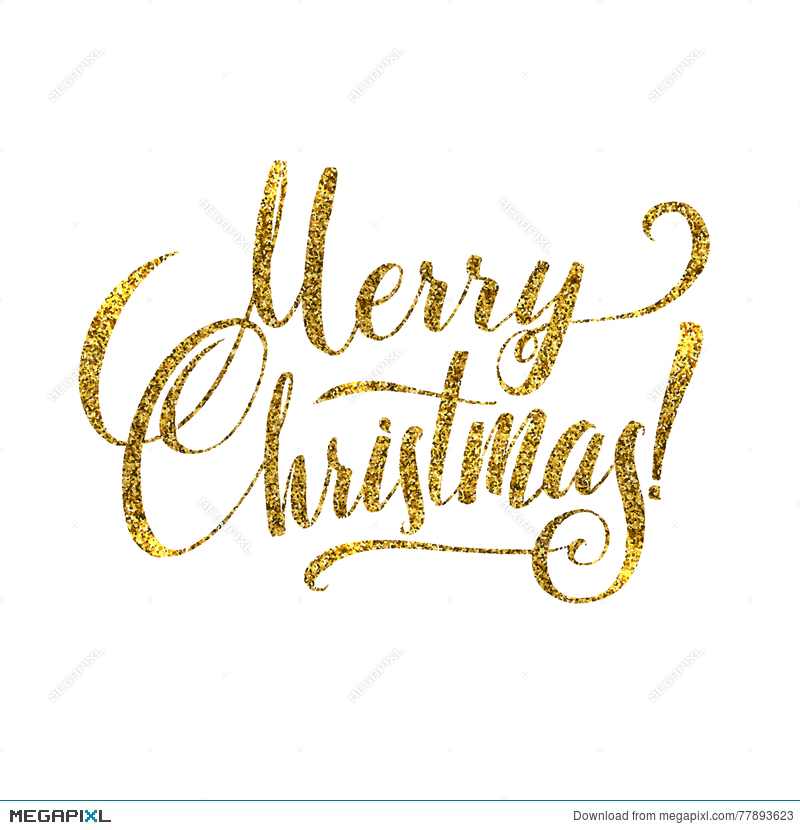 gold merry christmas card golden shiny glitter calligraphy greeting poster tamplate isolated white