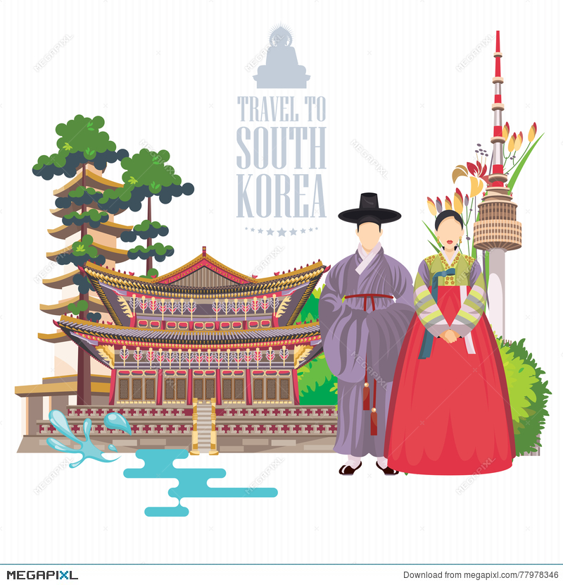South Korea Travel Poster In Light Design Korea Journey Banner With