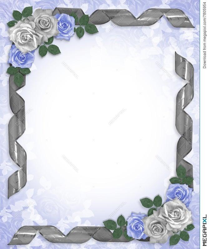 Wedding Invitation Border Blue Roses Illustration 7805954 Megapixl
