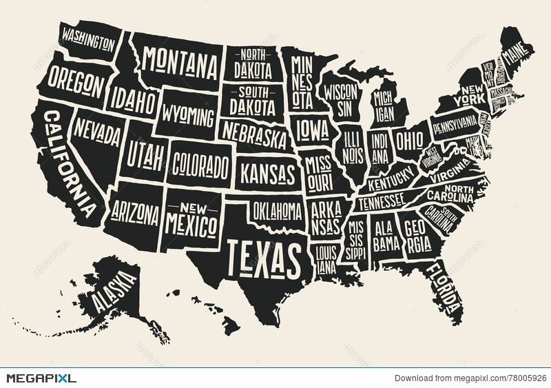 Poster Map United States Of America With State Names Illustration ...