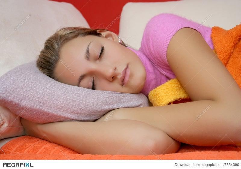 teen girls model sleeping