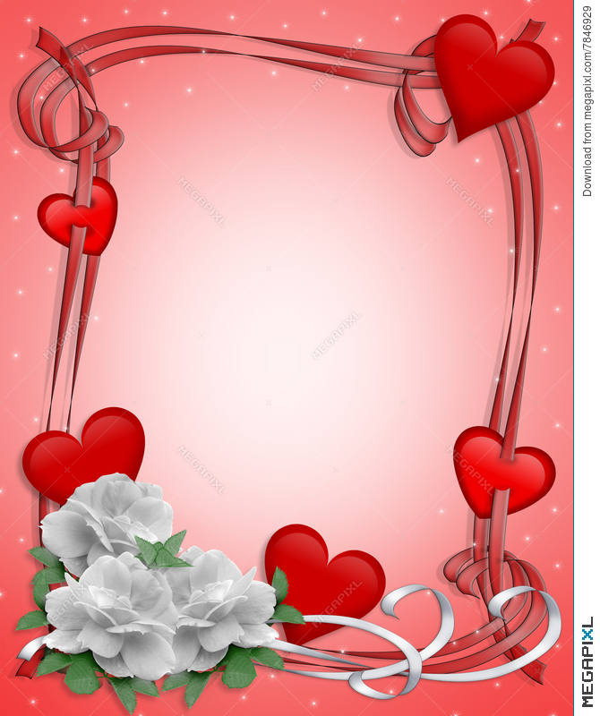 Valentines Day Border Hearts And Flowers