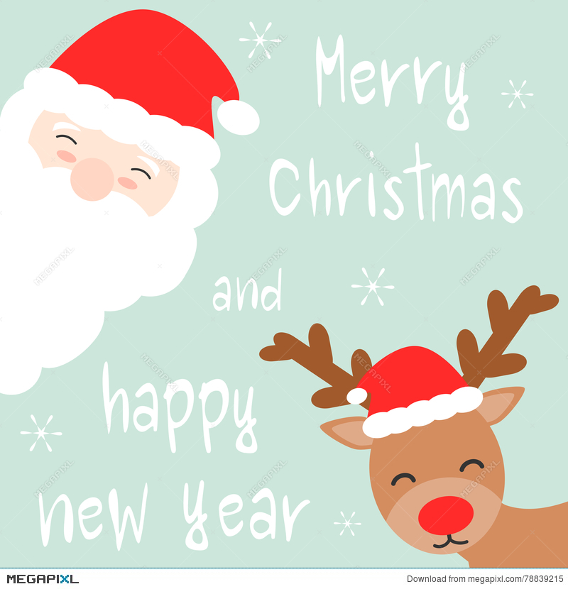 cute cartoon hand drawn merry christmas and happy new year card with santa claus and reindeer