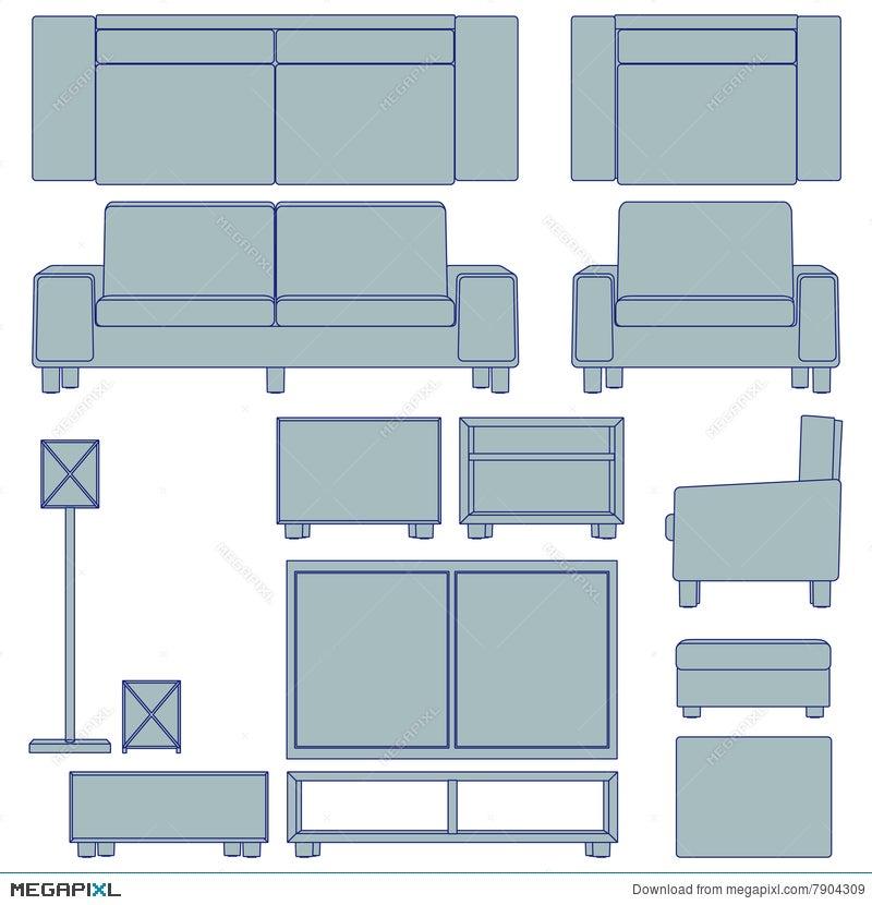 Blueprint Living Room Furniture Illustration 7904309 - Megapixl