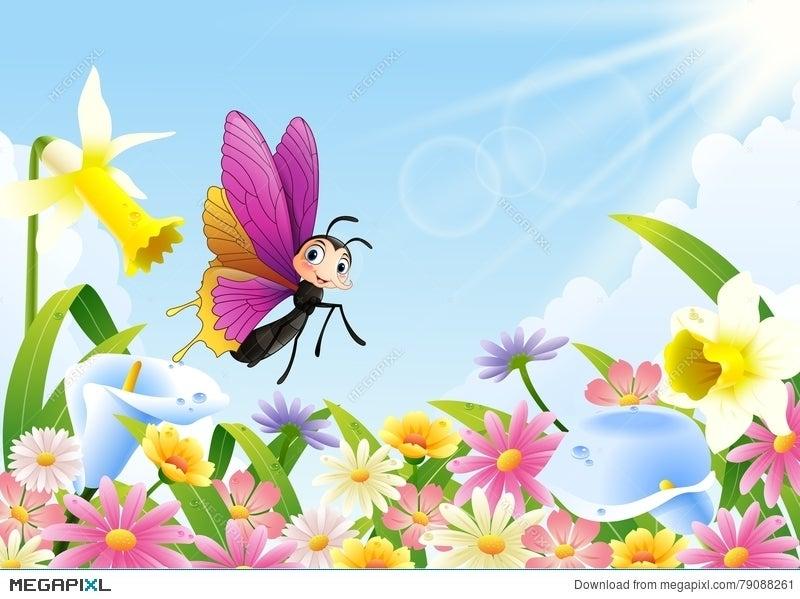 Cute Butterfly Flying On Flower Field Illustration 79088261
