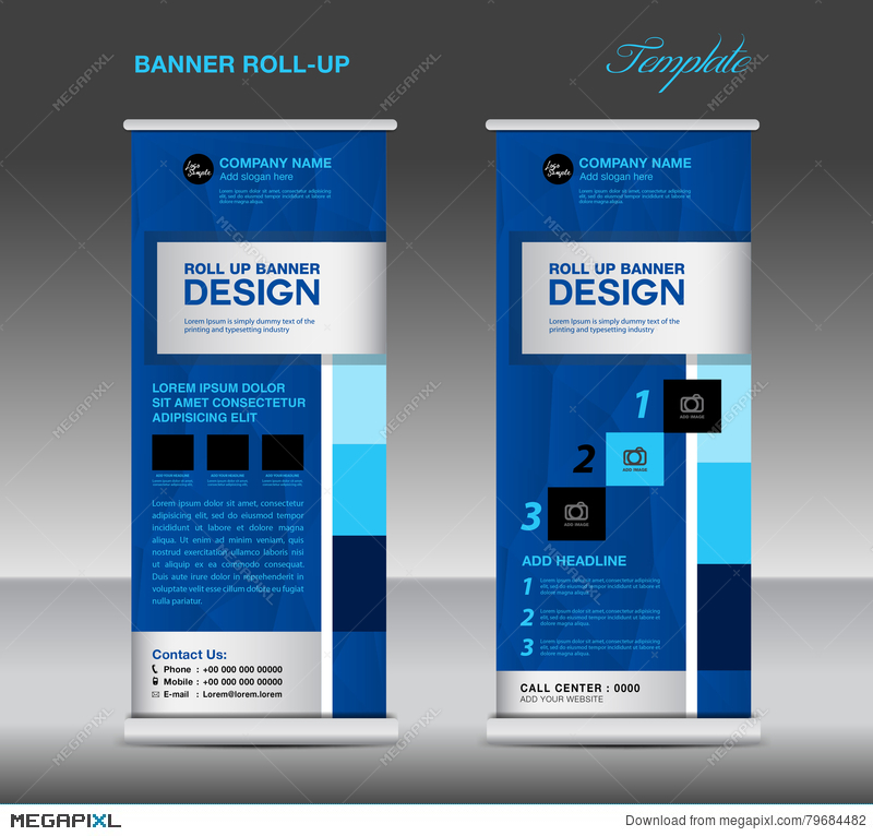 Blue Roll Up Banner Template Vector Illustration Standy