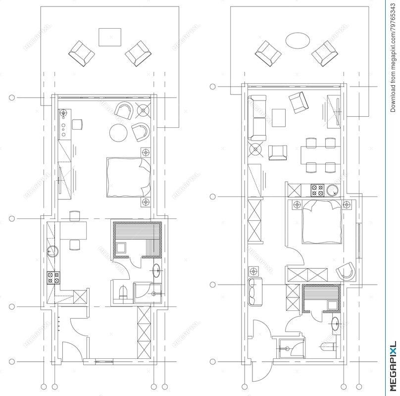 Standard Living Room Furniture Symbols Set Illustration