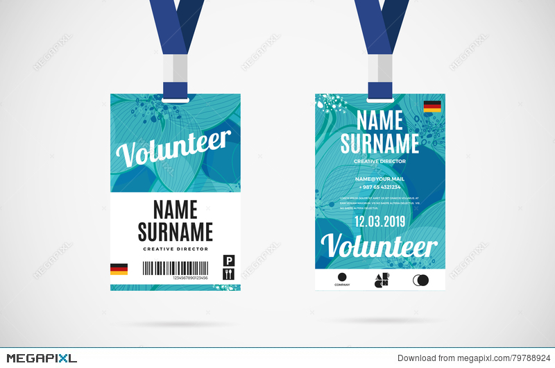 Event Volunteer Id Card Set Vector Design Illustration Illustration - Event badge template